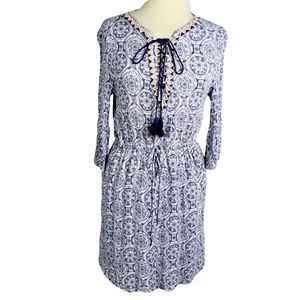 Esley L Dress Relaxed Rayon Embellished Blue White